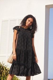 Black Broderie Ruffle Sleeve Midi Dress