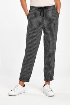 Black Stripe Linen Blend Tapered Trousers