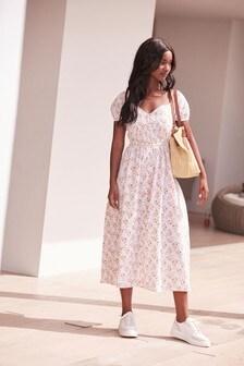 Ecru Ditsy Sweetheart Neckline Midi Dress