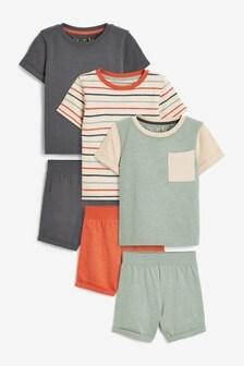 Rust/Teal 3 Pack Short Pyjamas (9mths-12yrs)