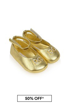 Dolce & Gabbana Kids Baby Girls Gold Leather Pre-Walker Shoes