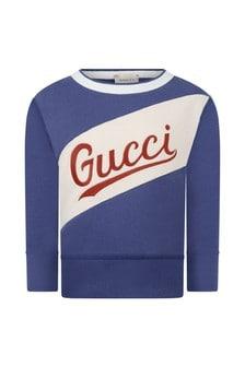 GUCCI Kids Boys Blue Cotton Logo Sweatshirt