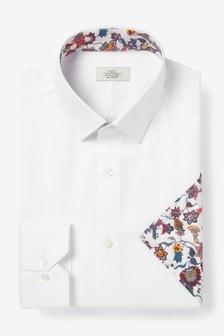 White Cotton Shirt And Floral Pocket Square Set