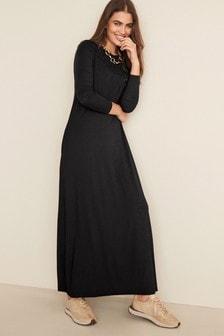 Black Long Sleeve Column Dress