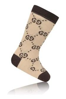GUCCI Kids Baby Beige Cotton GG Socks