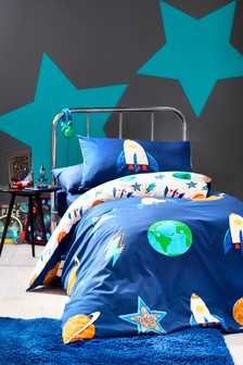 Blue Space Icons Reversible Duvet Cover And Pillowcase Set