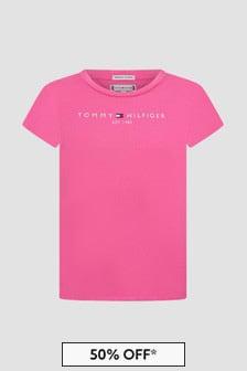 Tommy Hilfiger 걸스 핑크 코튼 티셔츠