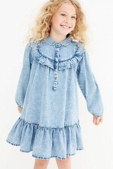 Denim Frill Detail Dress (3-16yrs)