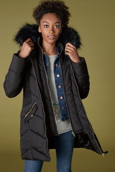 Black Faux Fur Padded Jacket