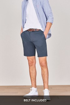 Navy Tile Print Belted Chino Shorts