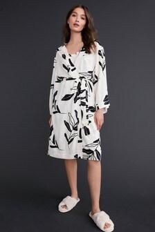 Monochrome Floral Lightweight Robe