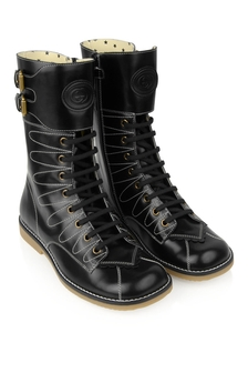 GUCCI Kids Girls Black Leather Lace Up Boots