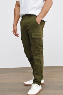 Khaki Green Cotton Stretch Cargo Trousers