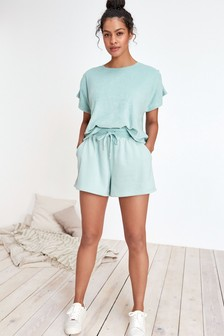 Green Cotton Towelling Shorts