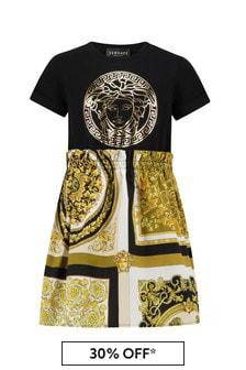 Versace Girls Black Cotton Dress