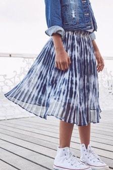 Navy Tie Dye Pleated Skirt (3-16yrs)