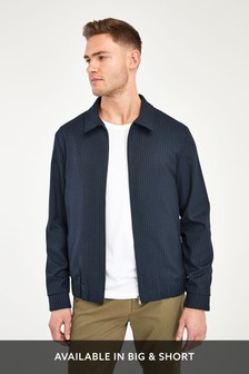 Navy Stripe Zip Through Jacket