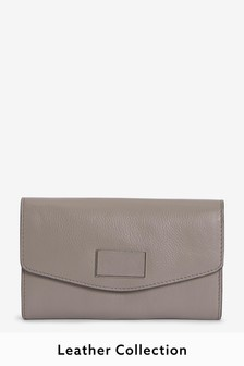 Mink Leather Purse With Plaque Detail