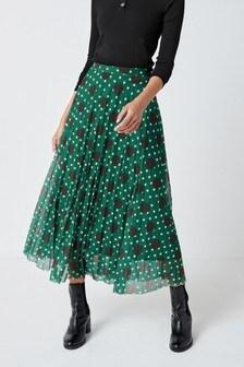 Green Spot Mesh Pleat Midi Skirt