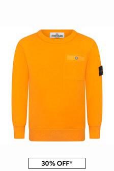 Stone Island Junior Boys Orange Cotton Sweat Top