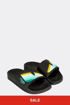 Fendi Kids Black Sliders
