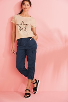 Navy Cropped Utility Trousers