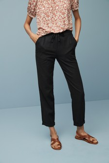 Black Linen Blend Tapered Trousers