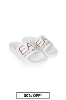 EA7 Emporio Armani Girls White Sliders