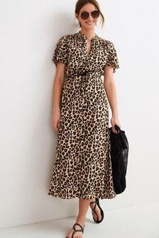 Animal Flute Sleeve Dress