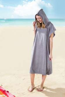 Grey Hooded Towel Changing Robe