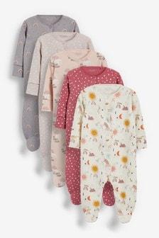 Pink Cosmic Print 5 Pack Sleepsuits (0-3yrs)