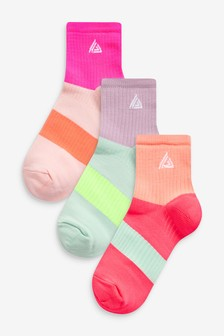 Bright Coloured Sports Cropped Ankle Socks 3 Pack