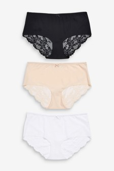 Black/White/Nude No VPL Lace Back Briefs 3 Pack