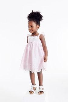 Pale Pink Cotton Broderie Beach Dress (3mths-7yrs)