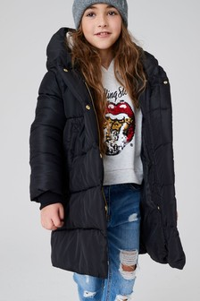 Black Shower Resistant Padded Coat (3-16yrs)