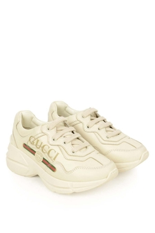GUCCI Kids Ivory Leather Branded Rhyton Trainers