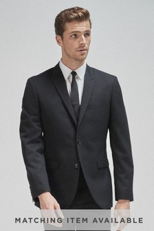 Black Twill 100% Wool Tailored Fit Suit: Jacket