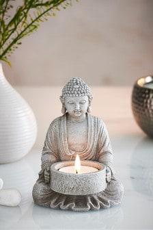 Grey Stone Effect Buddha Tealight Holder