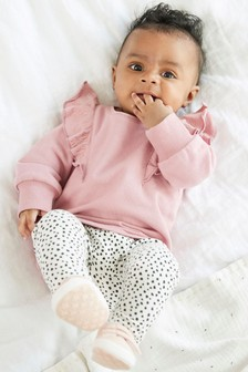 Pink Frill Detailed Sweatshirt And Leggings Set (0mths-2yrs)
