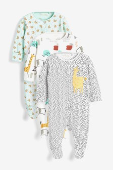 Pastel Safari Character 3 Pack Appliqué Sleepsuits (0-2yrs)