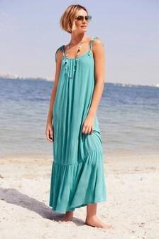 Aqua Tie Shoulder Maxi Dress