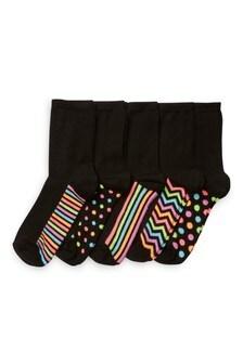 Multi Neon Spot And Stripe Socks Five Pack