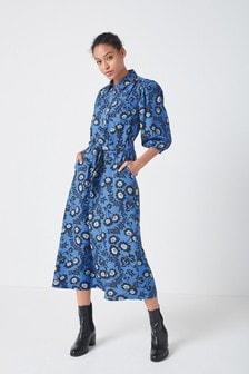 Blue Floral Zipped Midi Shirt Dress