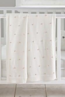 Cream Cream Knitted Pom Blanket