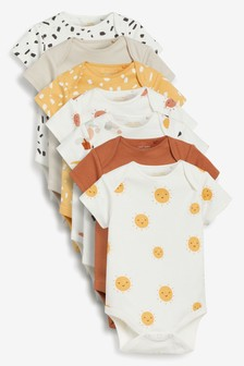 Tan Mini Print 7 Pack Short Sleeve Bodysuits (0mths-3yrs)