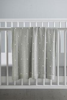 Grey Grey Knitted Pom Blanket
