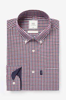 Red/Navy Gingham Check Easy Iron Button Down Oxford Shirt