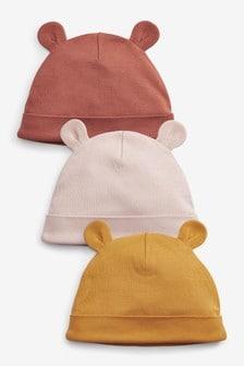 Ochre Yellow 3 Pack Beanie Hats (Newborn)