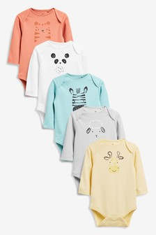 Bright Faces 5 Pack Long Sleeve Bodysuits (0mths-3yrs)