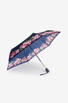 Navy Floral Border Automatic Open/Close Umbrella